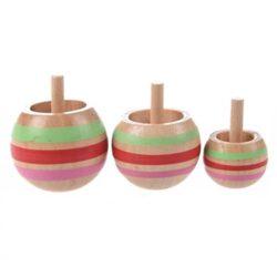 3pcs Legno Colorate Trottola Giocattolo Per Bambini 3 Formati 0
