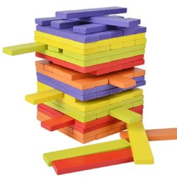 B Julian Xl Wobbling Tower Multifunctional Wooden Building Blocks Pack Of 100 Sticks Game Wire Puzzles Family Games For Kids And Adults 0