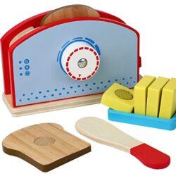 Bjulian In Legno Giocattolo Tostapane Con Toast Disco Coltello Da Burro Dose Accessori Set Da 9 Pezzi Per Bambini Da Cucina 0