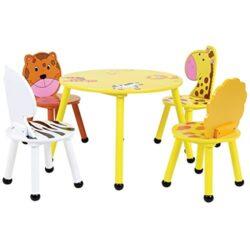 Charles Bentley Bambini Jungle Safari Tavolo Di Legno E 4 Sedie Dei Bambini Stabiliti Del Camera Sala Giochi Nursery Mobili 0