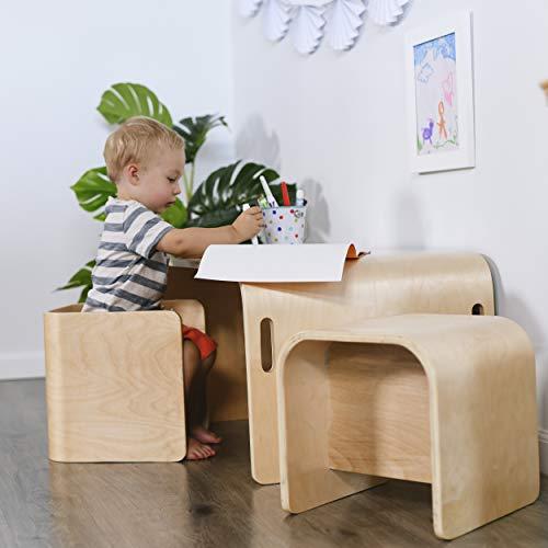 Tavolo In Legno Per Bambini Con Sedie.Tavolo Multiuso Per Bambini In Legno Naturale Curvato Con Due