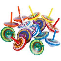 Faburo 14 Pezzi Trottola In Legno Mini Giroscopio In Legno Colorati Artigianali Set Per Bambini Giocattolo Partito 0