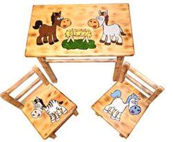 Grande Gruppo Di Sedie Per Cameretta Da Tavolo 2 Sedie Per Bambini In Legno Di Pino Cavallo 0
