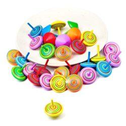 Joeyer Trottola In Legno Set 30 Pezzi Trottole Legno Mini Giroscopio In Legno Colorati Artigianali Per Bambini Giocattolo Partito 0