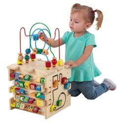 Kidkraft 63298 Giocattolo Educativo In Legno Per Bambini Cubo Attivit Deluxe Didentificazione Di Forme Colori Numeri E Lettere 0