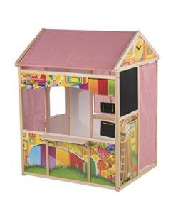 Marionette Wooden Toys 56388 Casetta In Legno Playhouse Per Bambini Casa In Legno E Tessuto Tenda 90 X 84 X 119 Cm 0