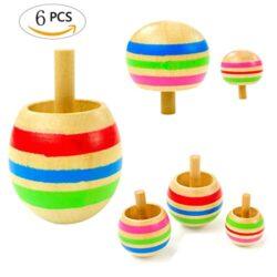 Mengger Trottola In Legno Mini Giroscopio Colorati Artigianali Set Per Bambini Giocattolo Partito Geschenk 6 Pezzi Trottole 0