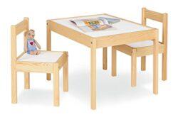 Pinolino Set Tavolino E Sedie 3 Pz Massicci In Pino Chiaro Laccato Tavolo 64 X 50 X 46 Cm Sedie 28 X 30 X 51 Cm Beige Natur 0