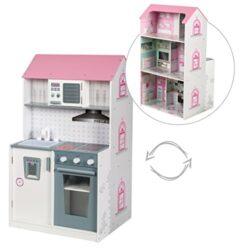 Roba Casa Bambole E Cucina 2in1 Utilizzabile Come Casa Delle Bambole Da Un Lato E Come Cucina Per Bambini Dallaltro Lato 2 Giochi In 1 0