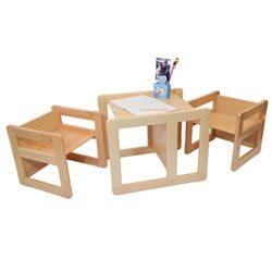 Set Mobili Multifunzionali 3 In 1 Set 3 Pezzi Due Sedie Multifunzionali O Tavolini E Una Sedia Multifunzionale O Tavolo Oppure Tris Di Tavolini Da Caff In Faggio Lacca Chiaro 0