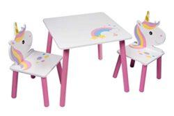 Set Con Tavolo E 2 Sedie Con Unicorno Per Bambini Ragazzi E Neonati Arredamento Per Asilo Nido E Camera Dei Giochi 0