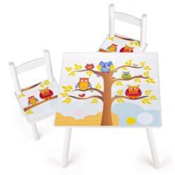 Tavolino Sedie Set Cameretta Per Bambini Tavolo E 2 Sedie In Legno Lettura Gioco Di Gruppo In Classe E Casa Mobili Soggiorno Set Furniture Mobili Per Bambini Apprendimento E Divertimento Gufi 0