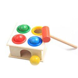 Torre Giocattolo In Legno Per Bambini Con Martello Giocattolo Educativo Per Bambini Per Lapprendimento Precoce Martello Con Palline In Legno A Forma Di Martello Blocchi Geometrici Per Bambini 0