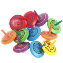 Trottola In Legno 12 Pezzi Mini Giroscopio In Legno Colorati Artigianali Set Per Bambini Giocattolo Partito Colore Casuale 0