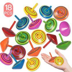 Trottola In Legno 18 Pezzi Mini Giroscopio In Legno Colorati Artigianali Set Per Bambini Giocattolo Partito 6 Colore Yidaxing 0