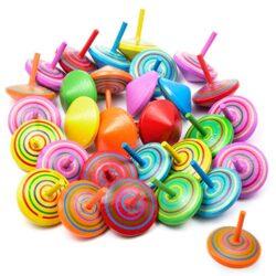 Vordas 30 Pezzi Trottola In Legno Mini Giroscopio In Legno Colorati Artigianali Set Per Bambini Giocattolo Partito Geschenk Colore Casuale 0