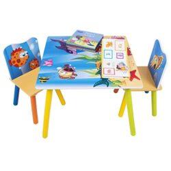 Woltu Sg003 Set Mobili Tavolo E Sedie Per Bambini Gioco Tavolino Con 2 Sgabelli Soggiorno Design Oceano In Legno 0