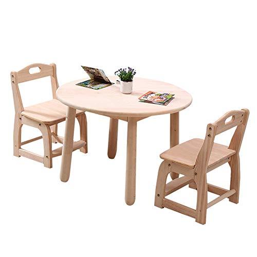 Tavolo rotondo e 2 sedie in legno massello per bambini ...