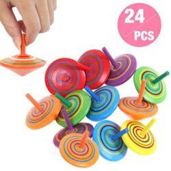 Annhao Trottola In Legno 24 Pezzi Mini Trottola Colorate In Legno Colorati Artigianali Set Per Bambini Giocattolo Partito Compleanno Del Bambino 6 Colore 0