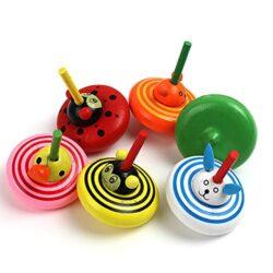 Xmxdesiz 4 Pezziset Girocollo Animale Multicolore In Legno Trottola Intelligente Giocattolo Per Bambini Stile Casuale 4pcs 0