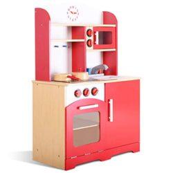 Costway Cucina Per Bambini Cucina Giocattolo In Legno Con Accessori Riproduzione Perfetta 0