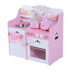 Homcom Cucina Giocattolo Per Bambini In Legno Con Accessori 60x30x63cm Rosa 0