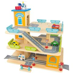 Leomark Garage In Legno Parcheggio A 3 Livelli Ascensore E Auto Per Elicotteri Stazione Garage 3 Piani Auto Macchinine Multipiano 0