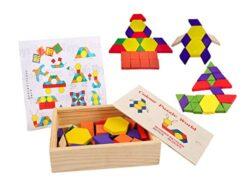 Lewo Set Tangrams Puzzles In Legno Giocattoli Di Formazione Del Cervello Per I Bambini Giochi Di Geometria Blocchi Di Pattern 60 Pezzi 0