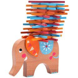 Natureich Torre Di Legno Elefante Montessori Giocattolo In Legno Per Imparare Labilit A Imparare Con I Bastoncini Colorati Colore Naturale Arancione 0