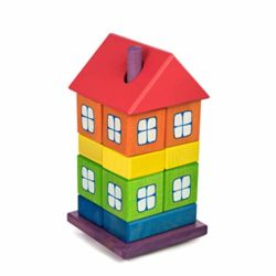 Tarnawa Casa Giocattolo In Legno Per Bambini 1 Anno E Su Colore Dellarcobaleno 12 X 12 X 23 Centimetri 16 Elementi 0