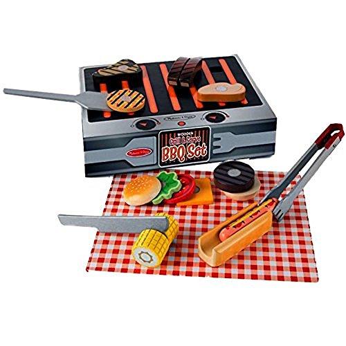 Melissa Doug Set Per Barbecue Griglia E Servi Alimenti Da Gioco E Accessori In Legno 20 Pezzi 19280 0