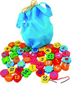 Perle Di Legno Da Infilare Blocchi Grandi Con 46 Pezzi Di Legno Con Numeri E Lettere Dellalfabeto Perline Di Legno Con Filo Giochi Montessori Educativi In Legno Per Bambini Di 3 Anni 0