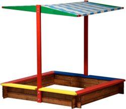 Sconosciuto 94355 Fsc Sabbiera Con Tetto In Legno Taglia Xl Quadrato Sandbox Per I Bambini Allaperto Tetto Apribile 120 X 120 X 125 Cm In Legno Fsc Colorato 0