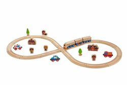 Everearth Legno Figura 8 Train Track Set 33 Pezzi 0