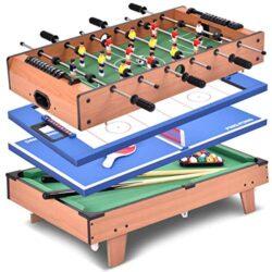 Goplus Tavolo Multigioco 4 In 1 Calcetto Balilla Da Tavolo Con Tavolo Biliardo Ping Pong Calcio Hockey Ed Accessori In Legno 0