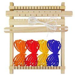 Buzifu Bambini Tessitura Telaio Kit Telaio Per Tessitura In Legno 9 Pezzi Telaio Da Tessitura Per Imparare A Tessere Telaio In Legno Con Accessori Kit Telaio Per Principianti E Bambini 0