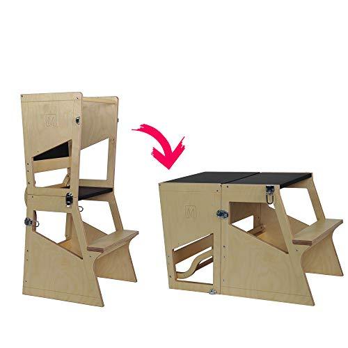 Bianconiglio Kids Moka Trs Learning Tower Montessori Trasformabile In Tavolino Kitchen Helper 0