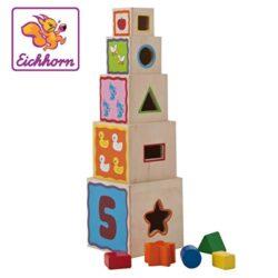 Eichhorn 100002085 Piramide Di 5 Cubi Impilabili E Incastrabili Con Gioco Delle Forme Colore Naturale Legnocolori Vari 0