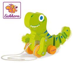 Eichhorn 100002425 Dinosauro Da Tirare Con Movimento Lunghezza 18 Cm In Legno Di Betulla 0