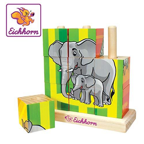 Eichhorn 100003623 Puzzle In Legno Con 9 Cubetti Uno Sfondo Per Ciascuno Dei 4 Lati Del Cubo 0