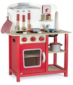 Leomark Cucina Classic Rosso Giocattolo In Legno Cucina Accessoriata Per Bambini Educazione Tavola Divertimento Accessori Da Cucina 0