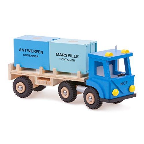 New Classic Toys 10910 Camion Con Rimorchio E 2 Contenitrice Legno 400 X 120 X 165mm 0