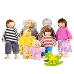 Watme Felice Famiglia Di Bambole Di Legno Set Di 7 Pupazzi Flessibili 0