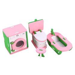 Toyvian Mobili In Legno Per Case Di Bambole In Legno Bagno In Miniatura Lavatrice Vasca Da Bagno Modello Wc Per Giochi Di Simulazione Per Bambini Giocattolo Casa Delle Bambole 0