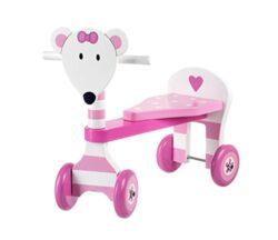 Triciclo Pink Muose In Legno Cavalcabile Cm 45x40x20 Per Bambini Primi Passi Et 12 Mesi 0