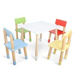 Bammax Sedie Per Bambini Gioco Soggiorno Tavolino Con Sgabelli In Legno 0