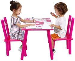 Ejoyous Tavolo E Sedie Per Bambini In Legno 2 In 1 Set Di Tavolo Da Gioco E 2 Sedie Per Bambini Tavolo Gioco Bambino Mobili Per Soggiorno Nursery Sala Giochi Rosa 0