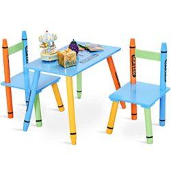 Goplus Set Mobile Tavolino Con 2 Sedie Con Gambe Di Legno Massello Set Mobili Multicolore Set Cameretta Per Bambini Resistente E Sicuro 0