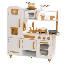 Kidkraft Cucina Giocattolo Moderna Bianca Con Accenti Oro 27 Pezzi Tra Accessori E Pentole 53445 0