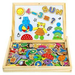 Puzzle Magnetico Legno Giocattolo Di Legno Bambini Con Double Face Magnetica Lavagna Legno 90 Pcs Tavolo Giochi Bambini 3 Anni 5 Anni 0